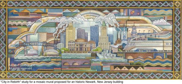 Ascalon Studios - City in Rebirth art deco mosaic mural