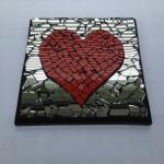 'Valentine Heart.'  Red ceramic tiled heart and mirror pieces mosaic.