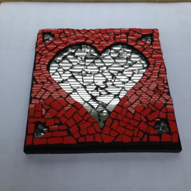 'Valentine Heart 2.'  Mirrored heart and red ceramic tile mosaic.