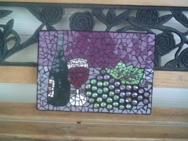 Wine and grapes mosaic
