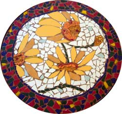 Ceramic Tile Mosaic Flower Table